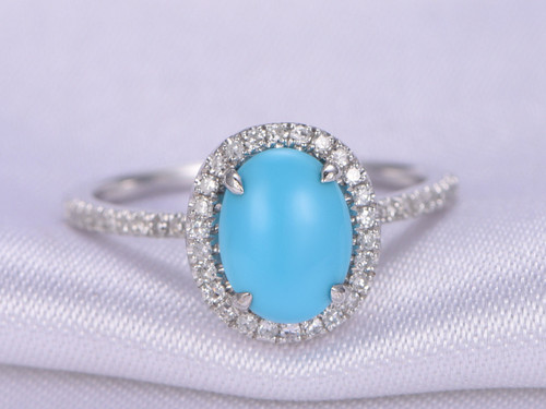 sleeping beauty turquoise ring7x9mm oval cut turquoise engagement ring14k white gold