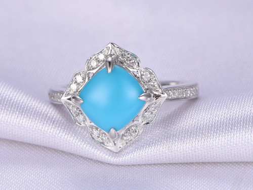 turquoise ring8x8mm cushion cut turquoise engagement beauty14k white gold