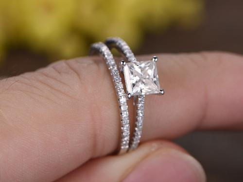 1 Carat Princess Cut Moissanite Engagement Ring Set Diamond Wedding Band 14k White Gold Art Deco