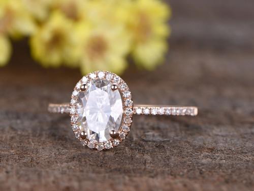 1.5 Carat Oval Moissanite Engagement Rings Diamond 14k Rose Gold Halo Thin Design Stacking Band
