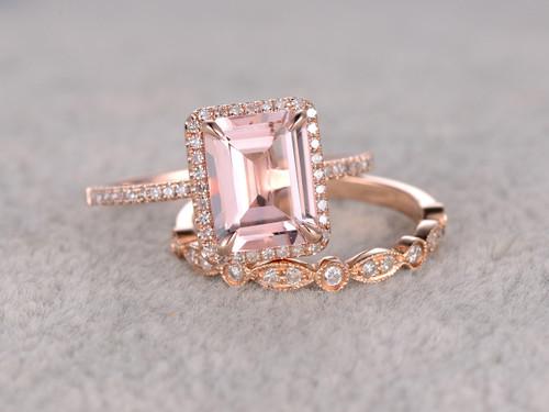 25 to 3 carat emerald cut morganite engagement ring set diamond bridal ring 14k rose gold - Morganite Wedding Ring Set
