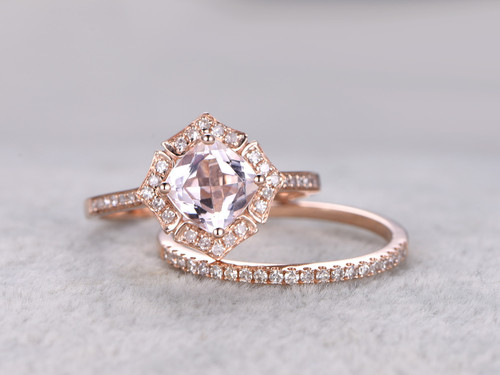 1 Carat Cushion Cut Morganite Wedding Set Diamond Bridal Ring 14k Rose Gold Retro Vintage Art Deco Antique Flower