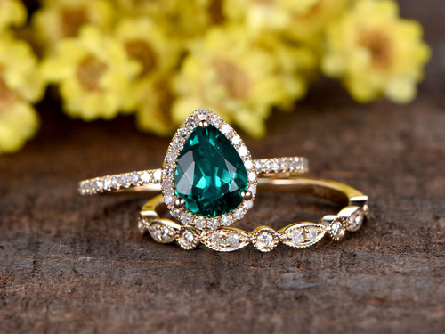 1 Carat Teardrop Emerald Engagement Ring Set Diamond Wedding Band 14k Yellow Gold Art Deco Milgrain Stacking