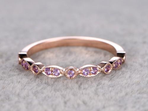 Amethyst Wedding Ring 14k Rose Gold Antique Art Deco Half Eternity Band February Birthstone Ring