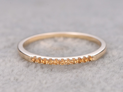 Citrine Wedding Ring 14k Yellow Gold Thin Pave Eternity Band November Birthstone Ring Stacking