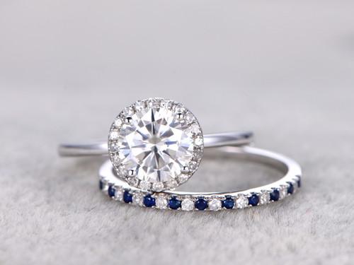 Moissanite Engagement Ring Set Diamond And Sapphire Wedding Band White Gold Pave Matching 14K 18K