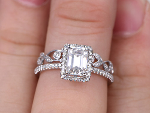 2pcs Radiant Cut Moissanite Engagement Rings Sets Diamond Matching Band White Gold Flower Art Deco Stacking