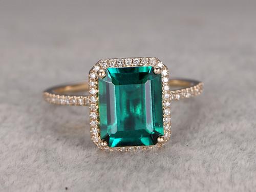 2.6 carat Emerald Diamond Engagement Ring Yellow Gold Halo Promise Ring Big Stone 14K/18K