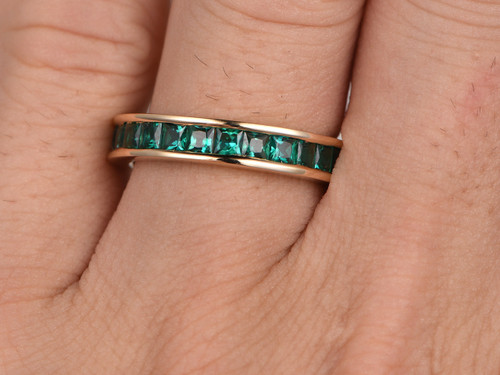 channel wedding bands emerald wedding band 14k yellow gold princess cut stone