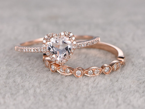 6mm heart shaped morganite wedding set diamond bridal ring 14k rose gold marquise matching band - Marquise Wedding Ring