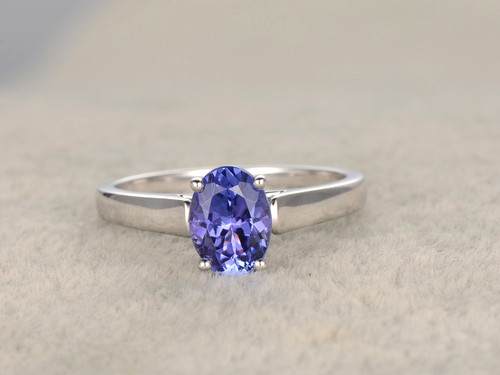 137ct oval blue tanzanite engagement ring 14k white gold wedding ring fine 4a stone - Tanzanite Wedding Rings