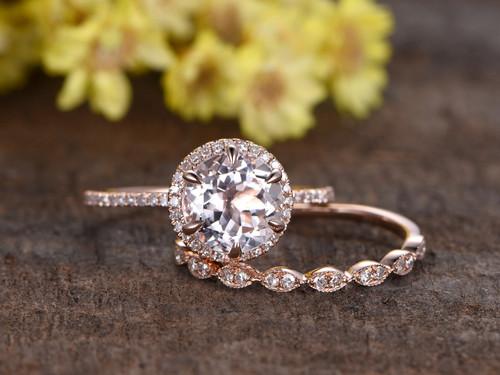 1.8 Carat Morganite Rose Gold Wedding Set Diamond ... - photo #25