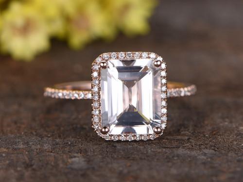2 5 Carat White Topaz Engagement Ring With Diamond 14k