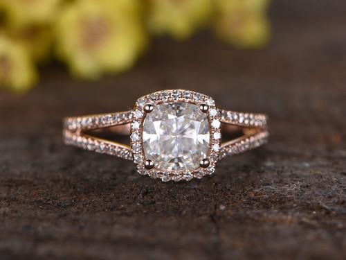 1 3 Carat Cushion Moissanite Engagement Rings Diamond