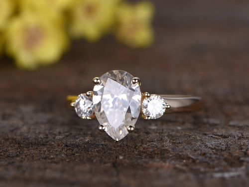 2 2 Carat Pear Moissanite Engagement Ring Promise 14k