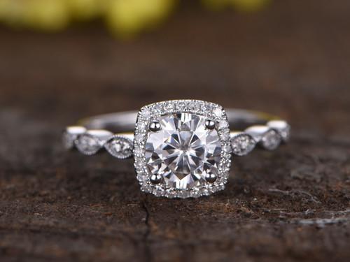 1 Carat Round Moissanite Halo Engagement Ring Diamond 14k ... - photo #10