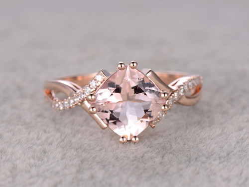 2 4 Carat Cushion Cut Morganite Engagement Ring Diamond