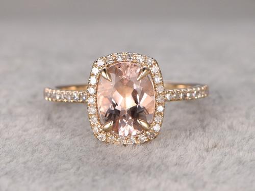 1 2 Carat Oval Morganite Engagement Ring Diamond Promise Ring 14k Yellow Gold Cushion Halo