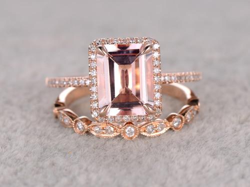 2 5 To 3 Carat Emerald Cut Morganite Engagement Ring Set