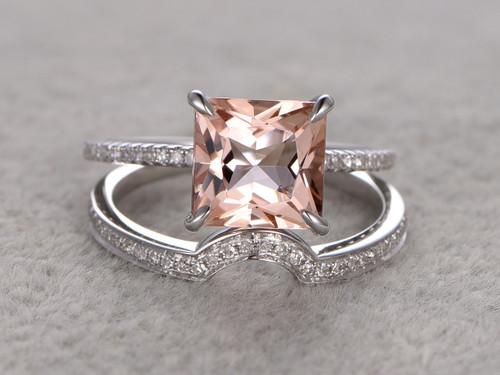 2 7 Carat Princess Cut Morganite Wedding Set Diamond