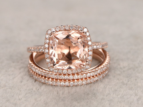 2 4 Carat Cushion Cut Morganite Wedding Set Diamond Bridal