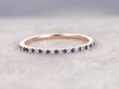 Sapphire and Diamond Wedding Rings 14k Rose Gold Thin Pave ... - photo #27