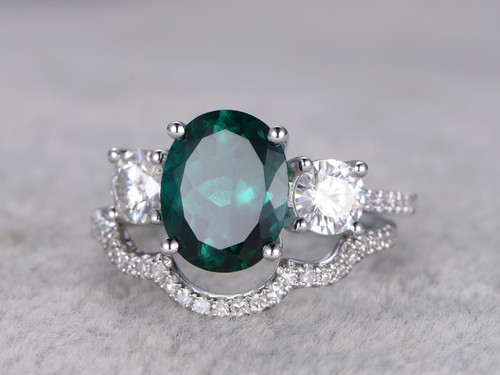 25 carat emerald engagement ring set moissanite diamond
