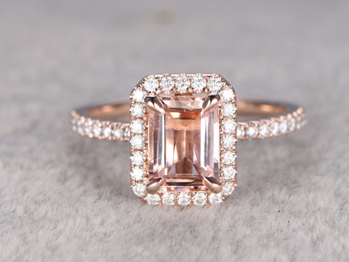 Rose Gold Morganite Halo Engagement Ring With Moissanite
