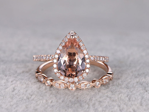 Rose Gold Morganite Wedding Set 6x9mm Teardrop Art Deco