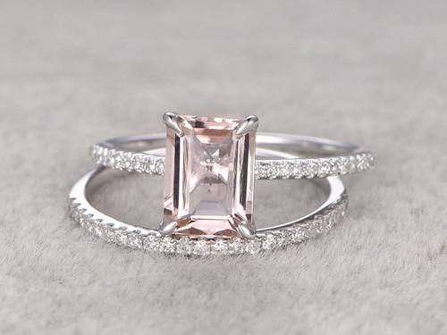 Morganite Engagement Ring White Gold Diamond Bridal Set