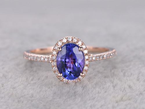 Tanzanite And Diamond Engagement Ring Rose Gold 1 2 Carat