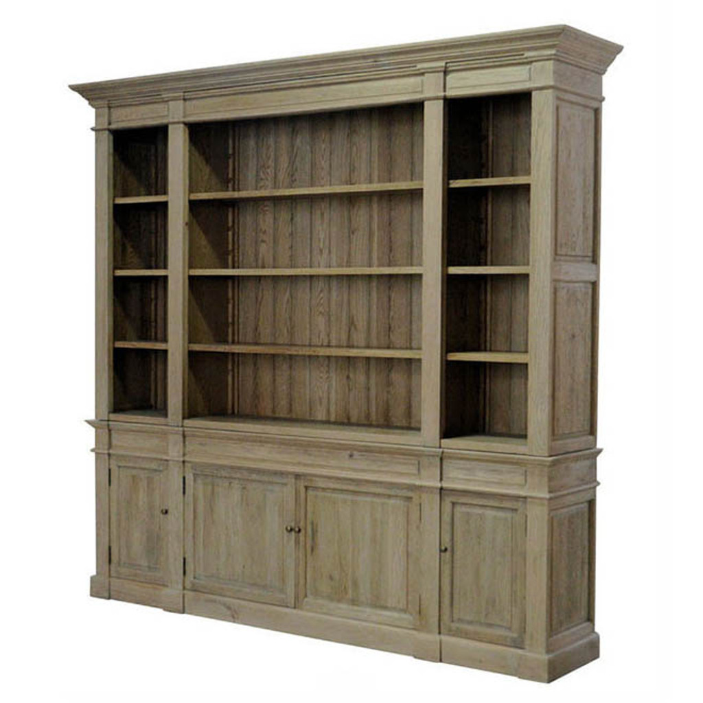 Reims Library Bookcase / TV Media Unit - Natural Oak - Side View