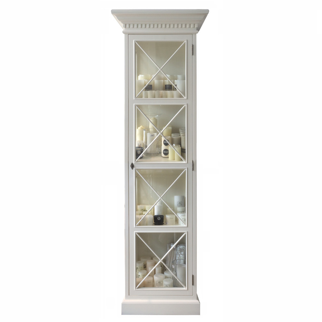 Hamptons Cross Display Cabinet 1 Door - Antique White