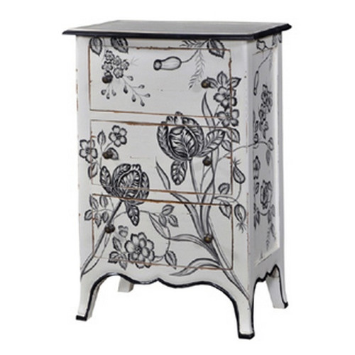 Carlyle 3 Drawer Bow Front Chest - White Light Distressed /A14