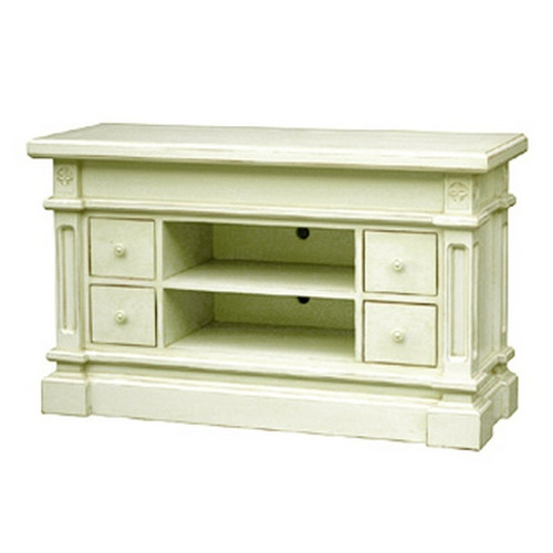Roosevelt 4 Drawer Plasma TV Stand - White Light Distressed