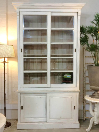 Hudson 2 Slide Door Bookcase - Oak White Heavy Distressed /LAO