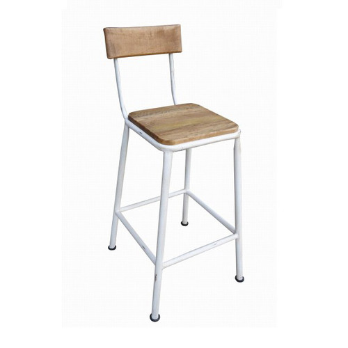 Industrial Breakfast Stool with Back - White