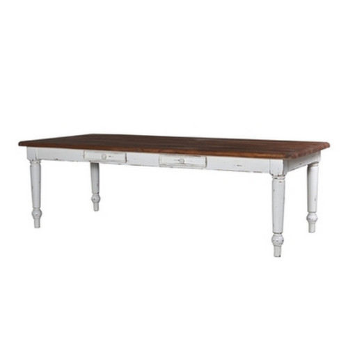 Farmhouse Dining Table 2.4m - White Heavy Distressed /BWX
