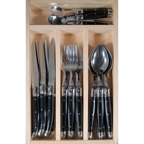 Laguiole Jean Dubost 24 Piece Cutlery Set - Black