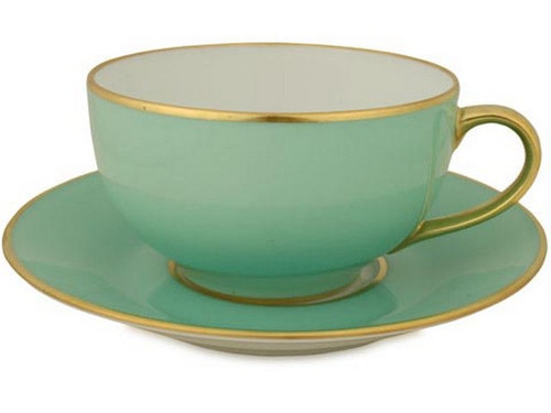 Limoges Legle Breakfast Cup & Saucer - Water Green