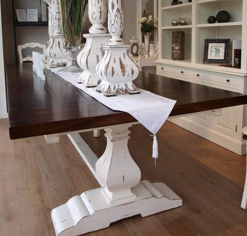 Provincial Trestle Dining Table 240cm   White Heavy Distressed /TKB