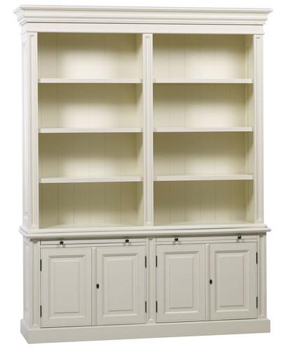 Classic 4 Door Bookcase - Antique White