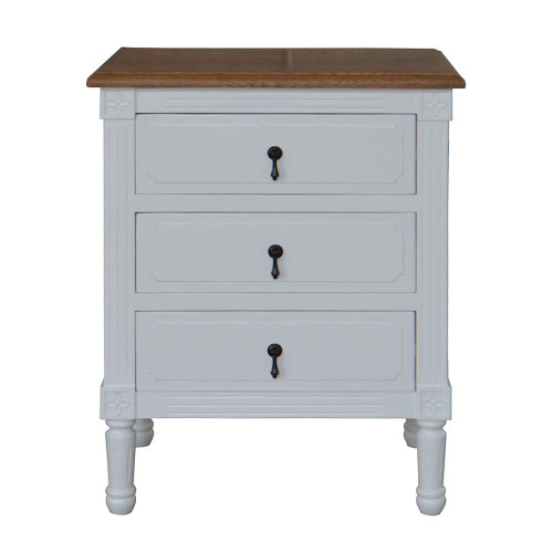 Versailles 3 Drawer Bedside - White