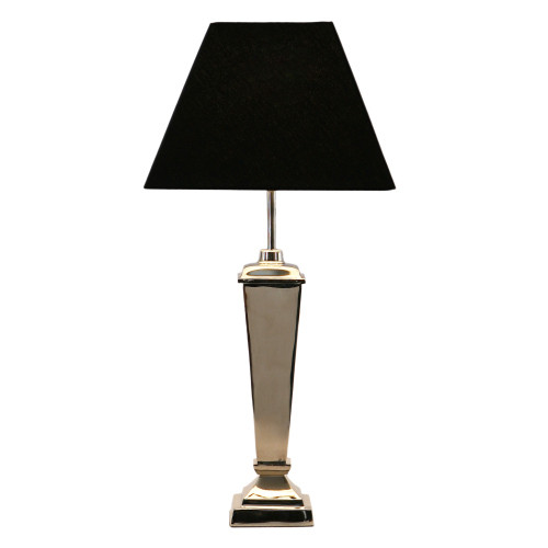Nickel Pillar Lamp with Square Black Shade