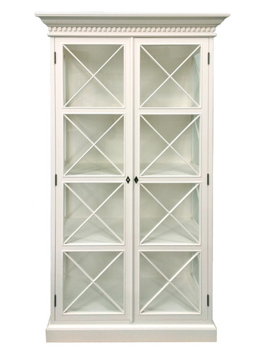 Hamptons Cross Display Cabinet - Antique White