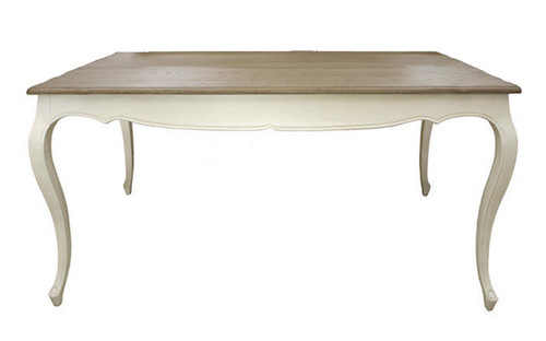Antoinette Dining Table 160cm (A/White + Weathered Oak Top)