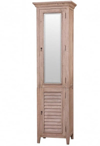 Shutter Tall Bath Cabinet w/ Mirror  - Light Antique Oak