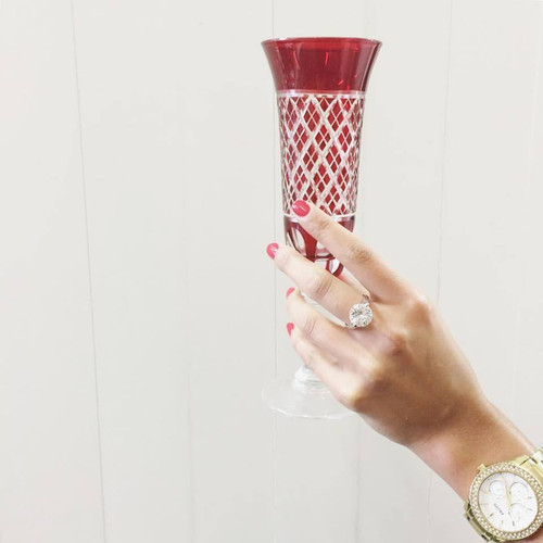 Ruby Red Champagne Flute - Set of 6