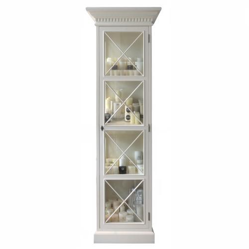 Hamptons Cross Display Cabinet 1 Door - Antique White