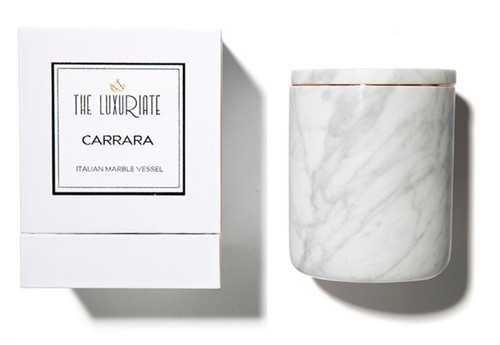 The Luxuriate Carrara Marble Candle Vessel and box
